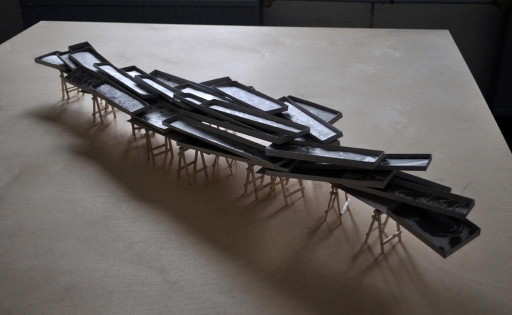 maquette van de installatie Tipping Point, te zien in Bonn en Delft